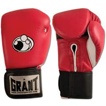 Red Leather Hook and Loop Gloves